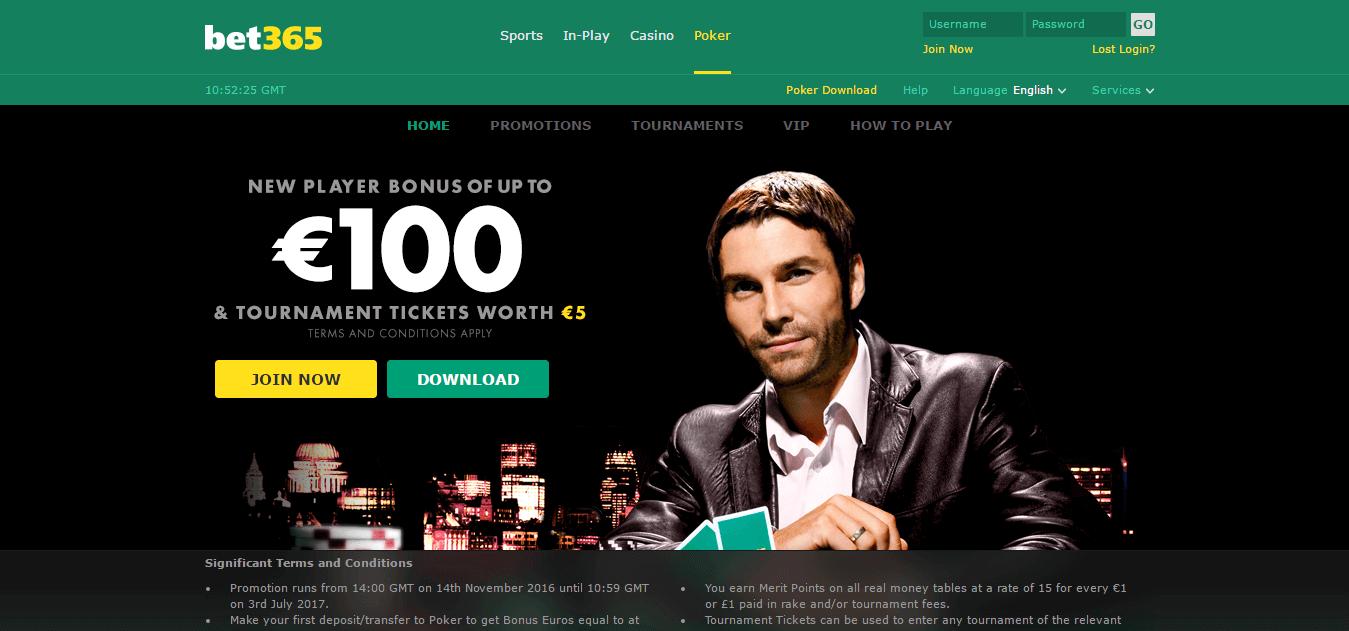 Покер зала на Bet365 - промоции, вип турнири
